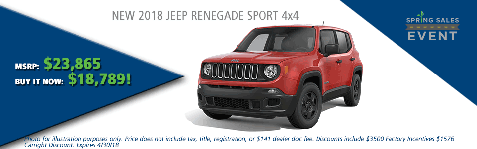 NEW 2018 JEEP RENEGADE SPORT 4X4 carright auto 5408 university blvd moon, pa 15108 chrysler dodge jeep ram