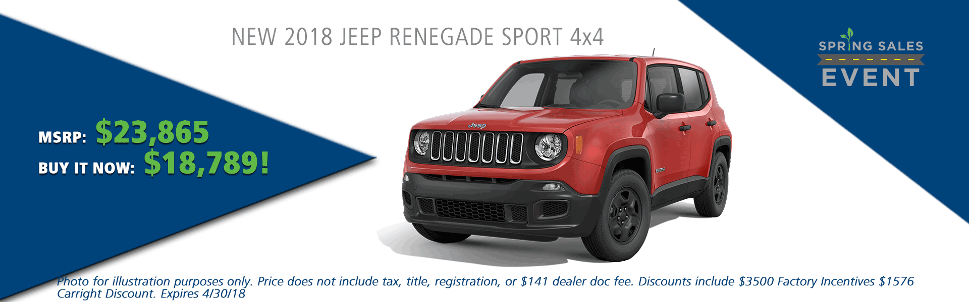 NEW 2018 JEEP RENEGADE SPORT 4X4 carright auto 5408 university blvd moon, pa 15108 chrysler dodge jeep ram