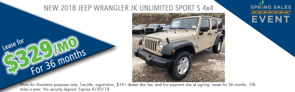 NEW 2018 JEEP WRANGLER JK UNLIMITED SPORT S 4X4 Carright Chrysler Jeep Dodge Ram Moon Township pa
