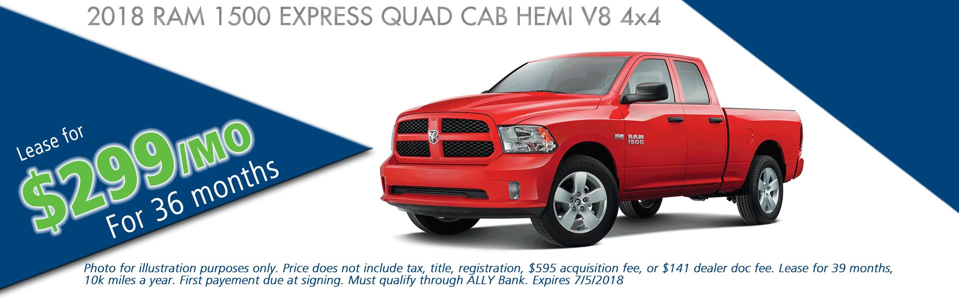 NEW 2018 RAM 1500 EXPRESS QUAD CAB 4X4 6'4 BOX carright chrysler jeep dodge ram moon township pennsylvania pittsburgh