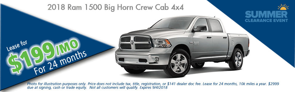 "Carright Automotive Chrysler Jeep Dodge Ram Moon Township PA NEW 2018 RAM 1500 BIG HORN CREW CAB 4X4 5'7"" BOX"