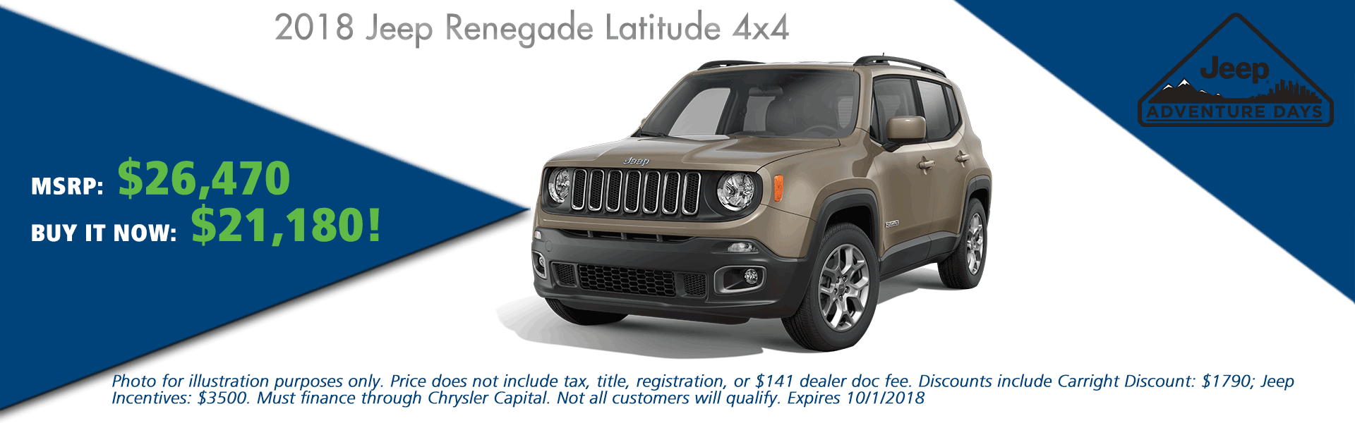 CarRight Chrysler Jeep Dodge Ram, Moon Township, PA Sales Service Body Shop Parts NEW 2018 JEEP RENEGADE LATITUDE 4X4