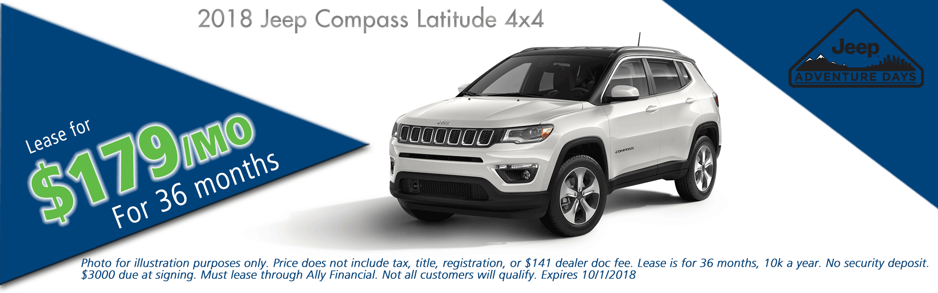 CarRight Chrysler Jeep Dodge Ram, Moon Township, PA Sales Service Body Shop Parts NEW 2018 JEEP COMPASS LATITUDE 4X4