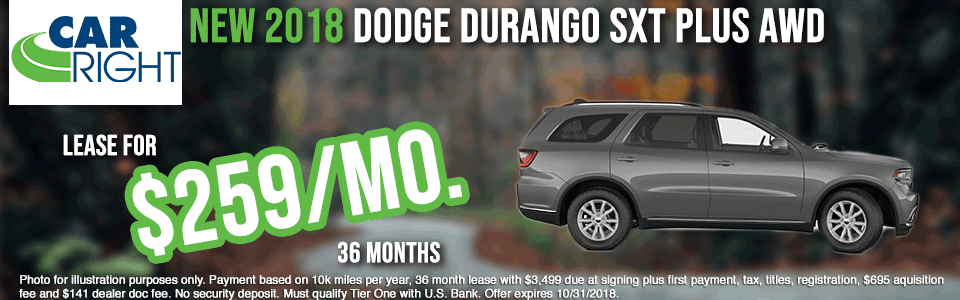 carright new vehicle specials carright specials chrysler specials dodge specials jeep specials ram specials lease specials moon township buy your car right the right way to buy a car D2611---2018-DODGE-DURANGO-SXT-PLUS-OCT