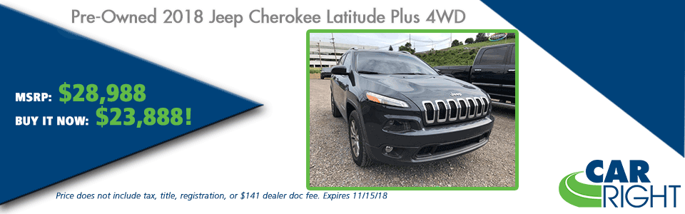 CarRight Automotive Chrysler Jeep Dodge Ram Fusu, Moon Township, PA New Used Service Parts collision PRE-OWNED 2018 JEEP CHEROKEE LATITUDE PLUS 4WD