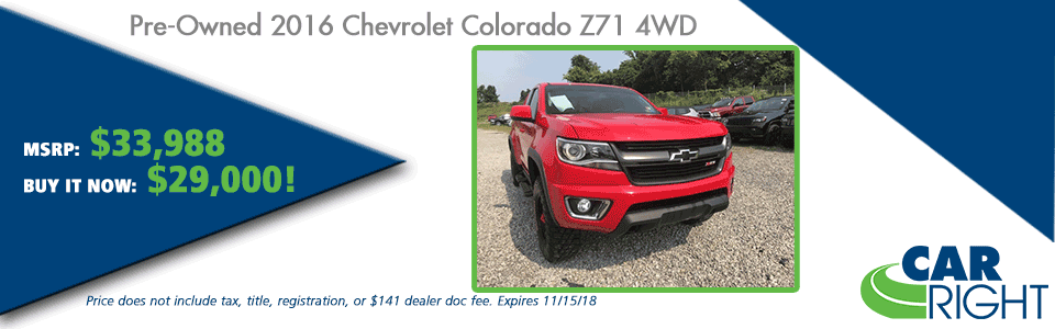 CarRight Automotive Chrysler Jeep Dodge Ram Fusu, Moon Township, PA New Used Service Parts collision PRE-OWNED 2016 CHEVROLET COLORADO Z71 4WD