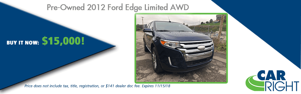 CarRight Automotive Chrysler Jeep Dodge Ram Fusu, Moon Township, PA New Used Service Parts collision PRE-OWNED 2012 FORD EDGE LIMITED AWD