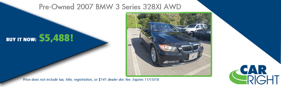 CarRight Automotive Chrysler Jeep Dodge Ram Fusu, Moon Township, PA New Used Service Parts collision PRE-OWNED 2007 BMW 3 SERIES 328XI AWD