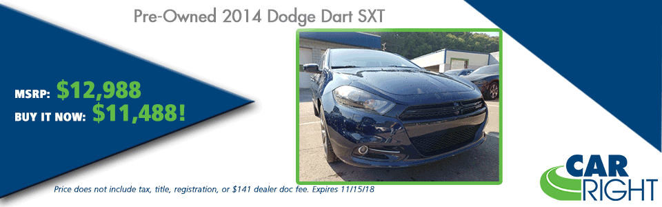 CarRight Automotive Chrysler Jeep Dodge Ram Fusu, Moon Township, PA New Used Service Parts collision PRE-OWNED 2014 DODGE DART SXT FWD 4D SEDAN
