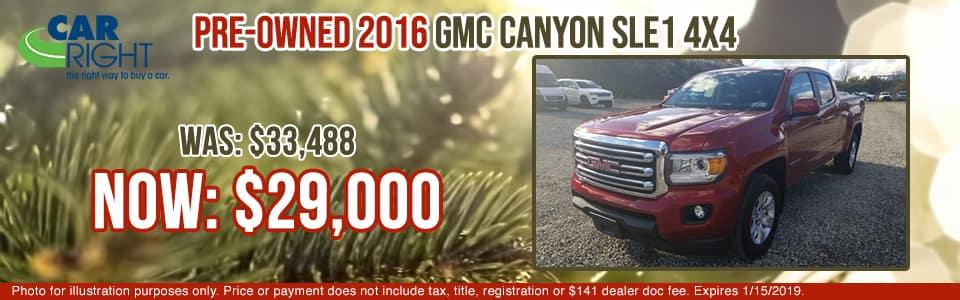 B3018A - 2016 GMC Canyon gmc specials carright auto specials used vehicle specials pre-owned specials pre-owned vehicle specials