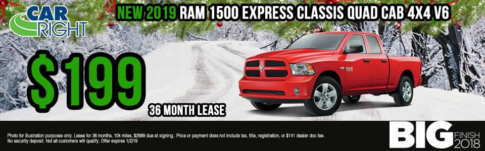 """Carright Moon Township, PA. New and used vehicle sales. Service, parts, accessories NEW 2019 RAM 1500 CLASSIC EXPRESS QUAD CAB® 4X4 6'4"""" BOX"""