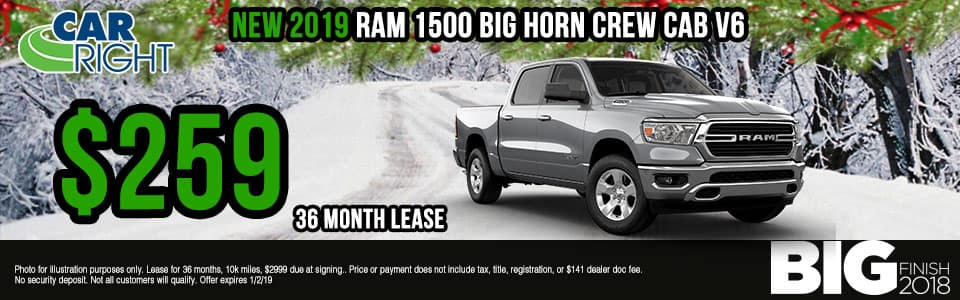 """Carright Moon Township, PA. New and used vehicle sales. Service, parts, accessories NEW 2019 RAM 1500 BIG HORN / LONE STAR CREW CAB 4X4 5'7"""" BOX"""