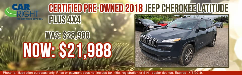 G2482A - Certified Pre Owned 2018 Jeep Cherokee Latitude Plus 4x4 jeep specials carright auto specials used vehicle specials pre-owned specials pre-owned vehicle specials
