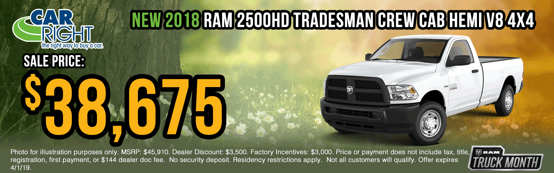 B0022-2018-ram-2500-tradesman-crew-cab Spring sales event ram truck month jeep specials Chrysler specials ram specials dodge specials mopar specials new vehicle specials carright specials moon twp