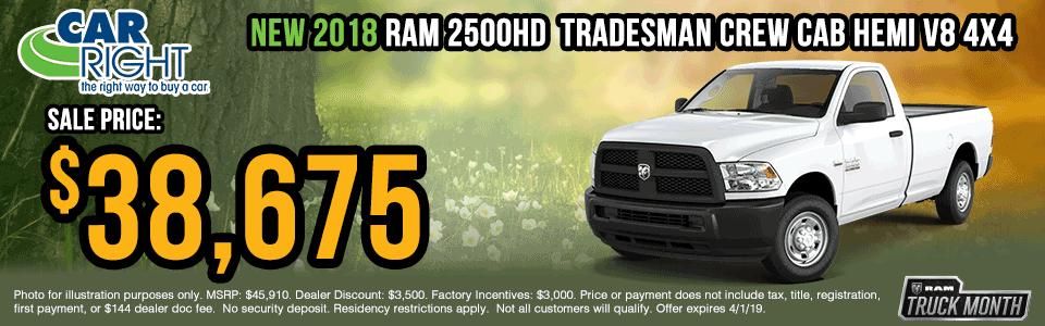 B0022-2018-ram-2500-tradesman-crew-cab Spring sales event ram truck month jeep specials Chrysler specials ram specials dodge specials mopar specials new vehicle specials carright specials moon twp