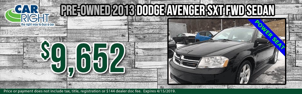b3345a-2013-dodge-avenger-sxt Spring sales event carright Chrysler dodge jeep ram Diehl auto moon township Pittsburgh pre-owned vehicle special used special certified pre-owned cpo dodge special