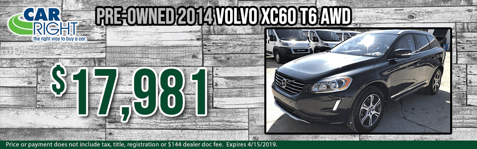 b8109b-2014-volvo-xc60-t6 Spring sales event carright Chrysler dodge jeep ram Diehl auto moon township Pittsburgh pre-owned vehicle special used special certified pre-owned cpo volvo specials