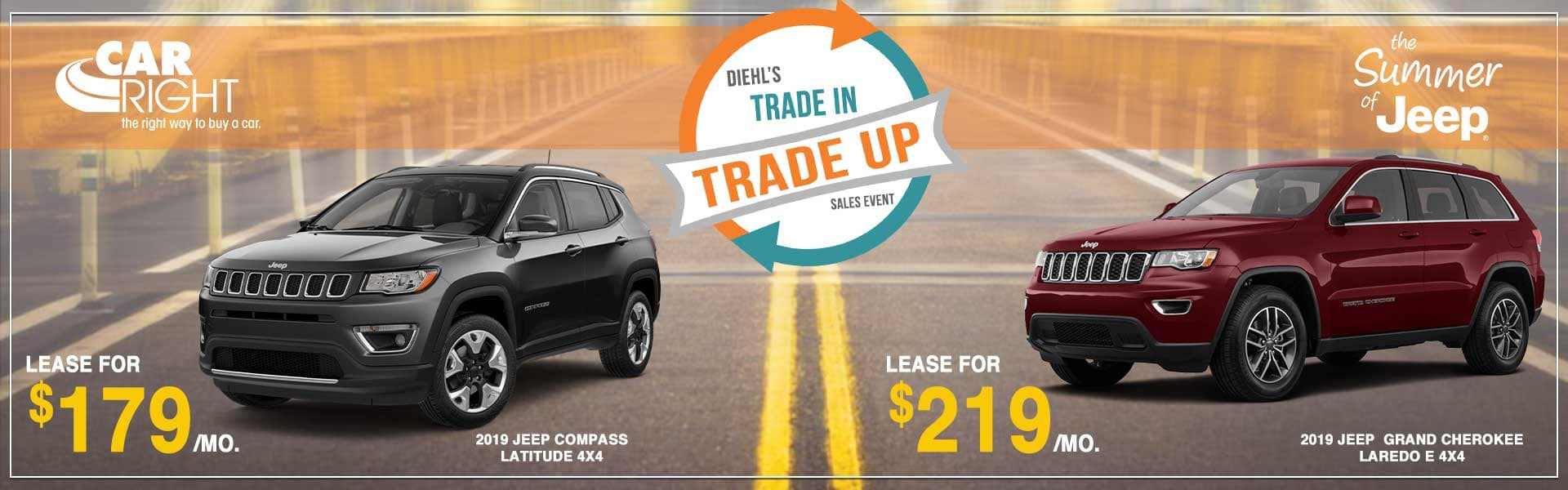 CARRIGHT trade in trade up sales event summer of jeep event summer clearance event jeep lease new vehicle special moon township Labor Day sales event
