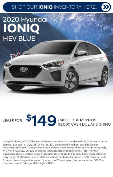 2020 hyundai ioniq specials card