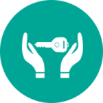 hands holding key icon