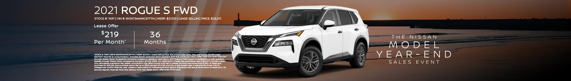 Lease a new Rogue for$289/mo. See dealer for details.