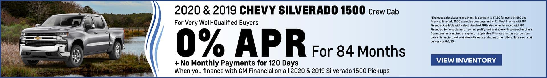 Coastal Saves Chevy 0% APR for 84 months on a Silverado 1500