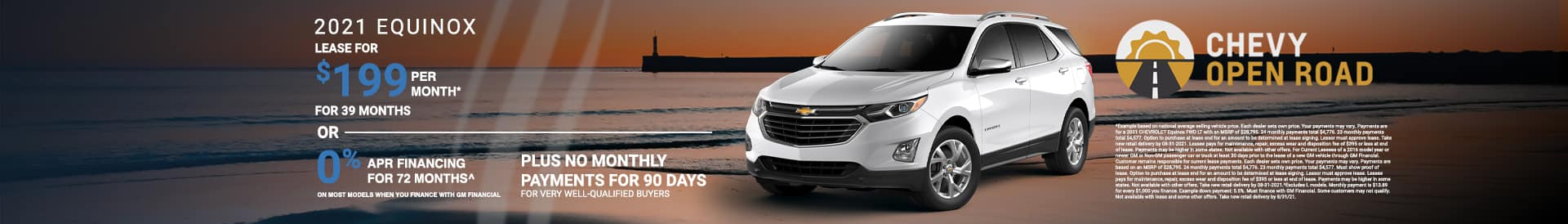Finance a new Equinox at 0% APR. See dealer for details.