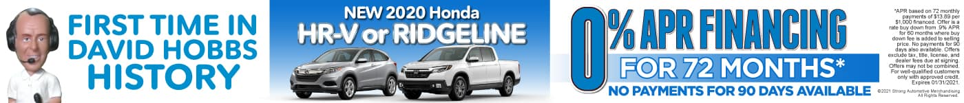 New 2020 Honda HR-V or Ridgeline - 0% APR for up to 72 months