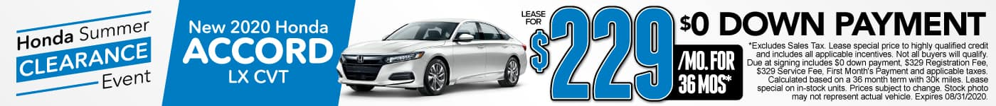 New 2020 Honda Accord - lease for $229 a month for 36 months