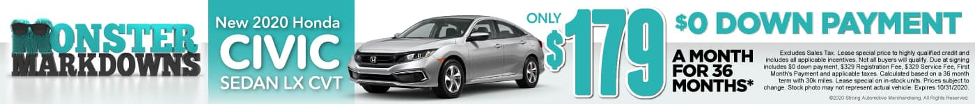 New 2020 Honda Civic - Lease for $179 a month - Shop Now