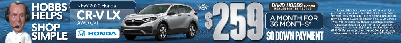 New 2020 Honda CR-V LX AWD CVT Lease for $259 a month for 36 months $0 Down Payment.
