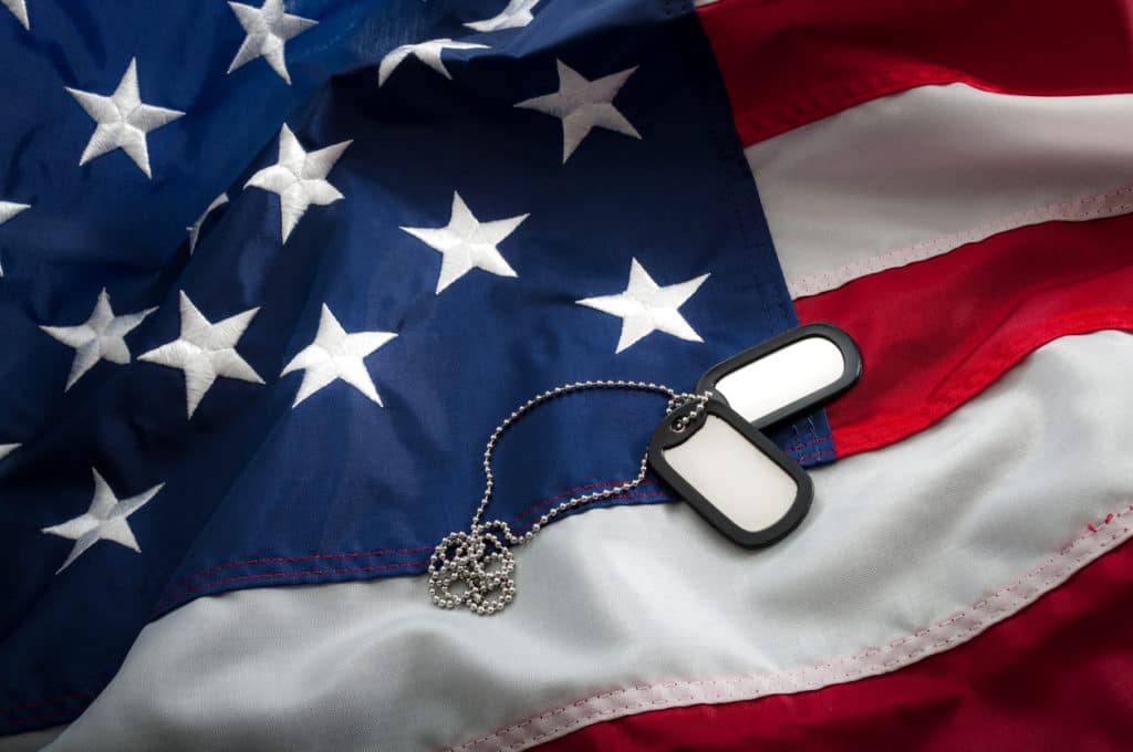 Military dog tags laying on American flag