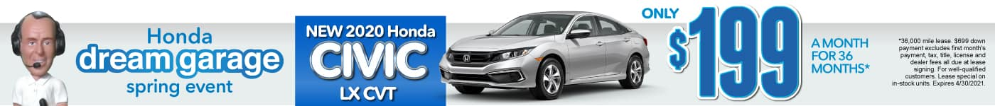 New 2021 Honda Civic - Only $199 a month - Act Now