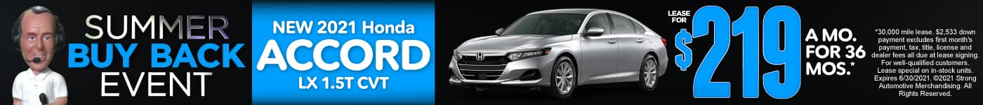 New 2021 Honda Accord - Lease for $219 a month