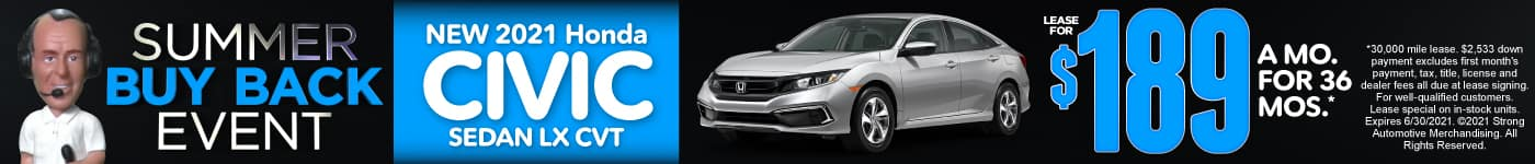 New 2021 Honda Civic - Lease for $189 a month