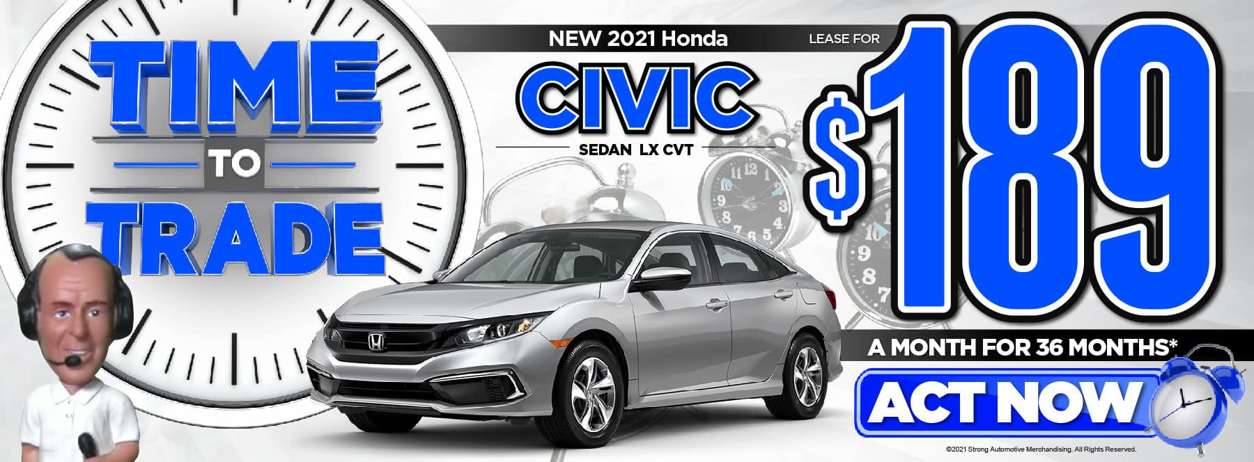 New 2021 Honda Civic LX Lease for $189/Mo* Act Now