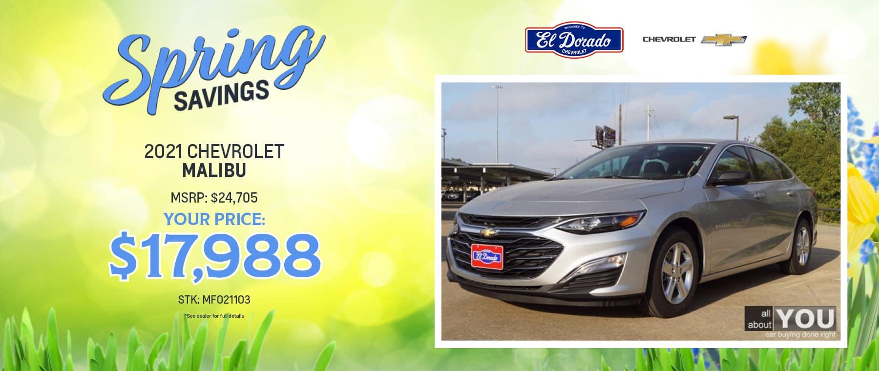 2021 Chevrolet Malibu Offer - El Dorado Chevrolet in McKinney, Texas
