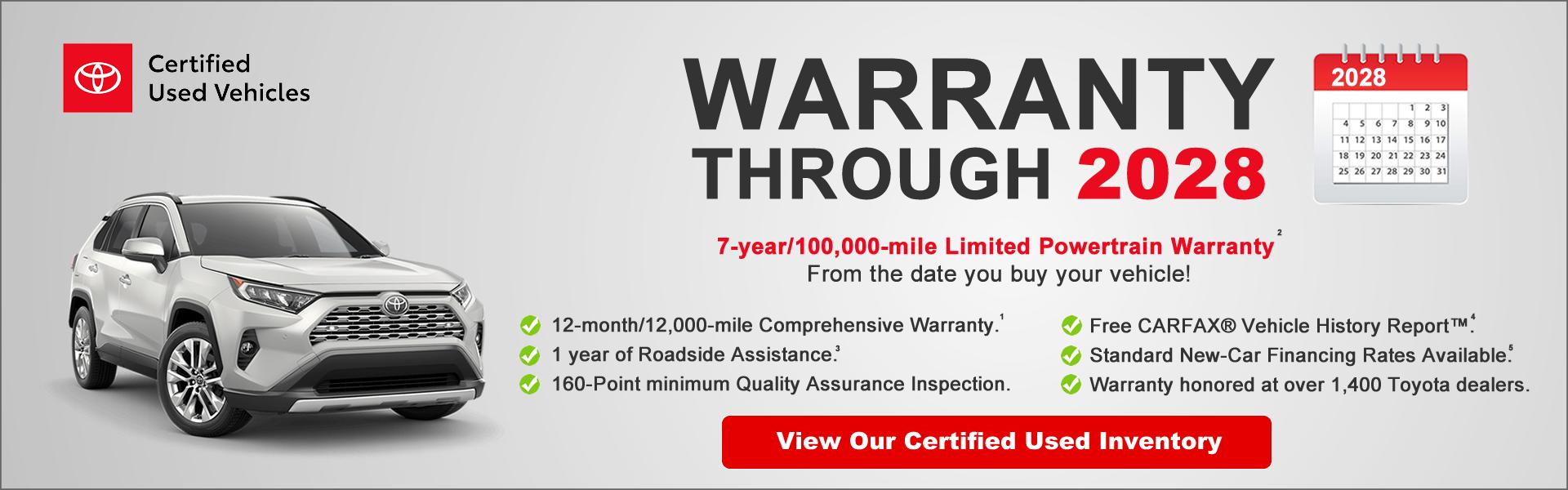 TCUV Warranty 2028