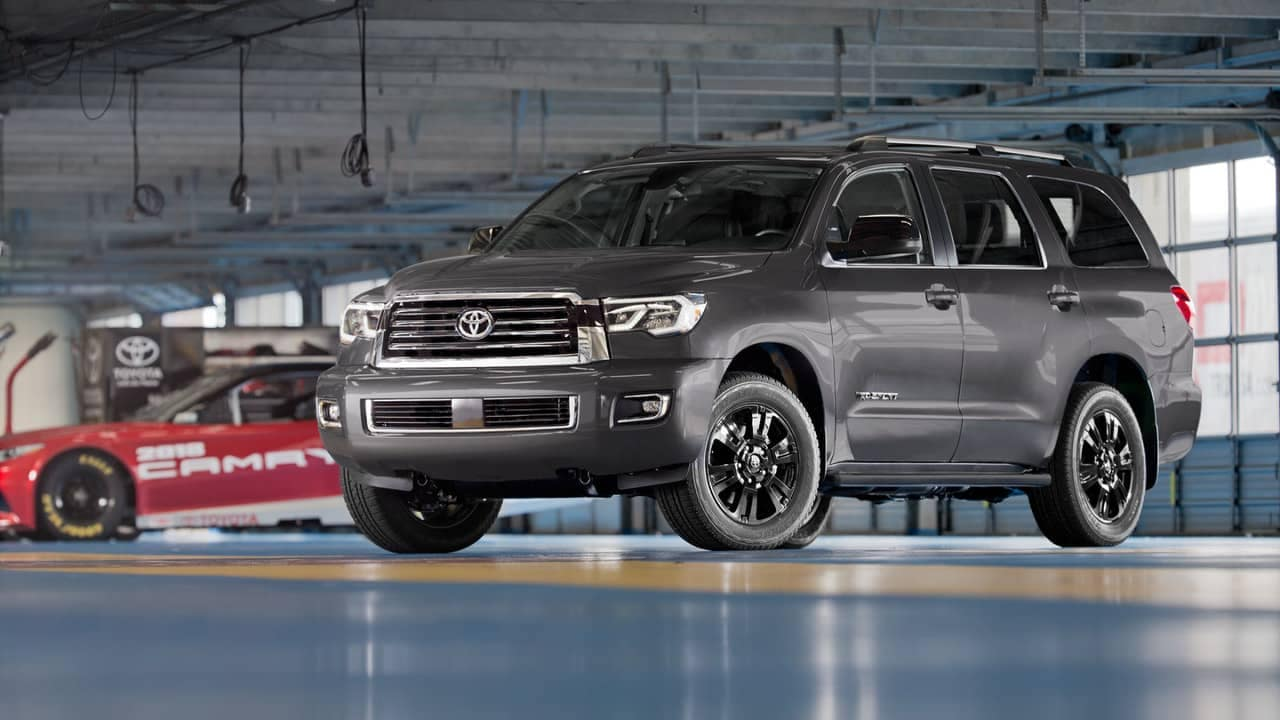 2018 Toyota Sequoia parked in garage