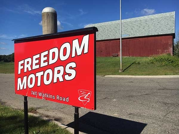 The entrance to the scenic Freedom Motors campus