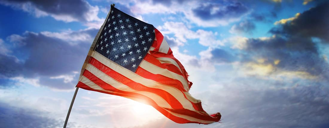 American Flag Sun glare