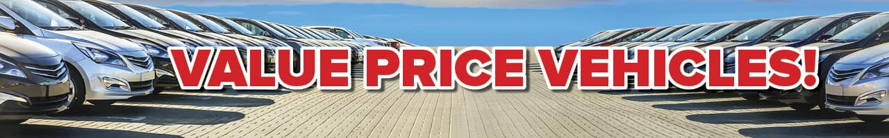 """Banner with the words """"value price vehicles"""" in red"""