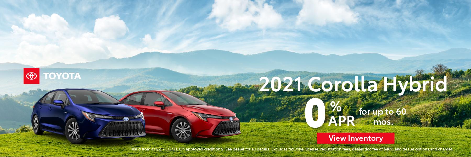 April 2021 – Corolla Hybrid 0% APR