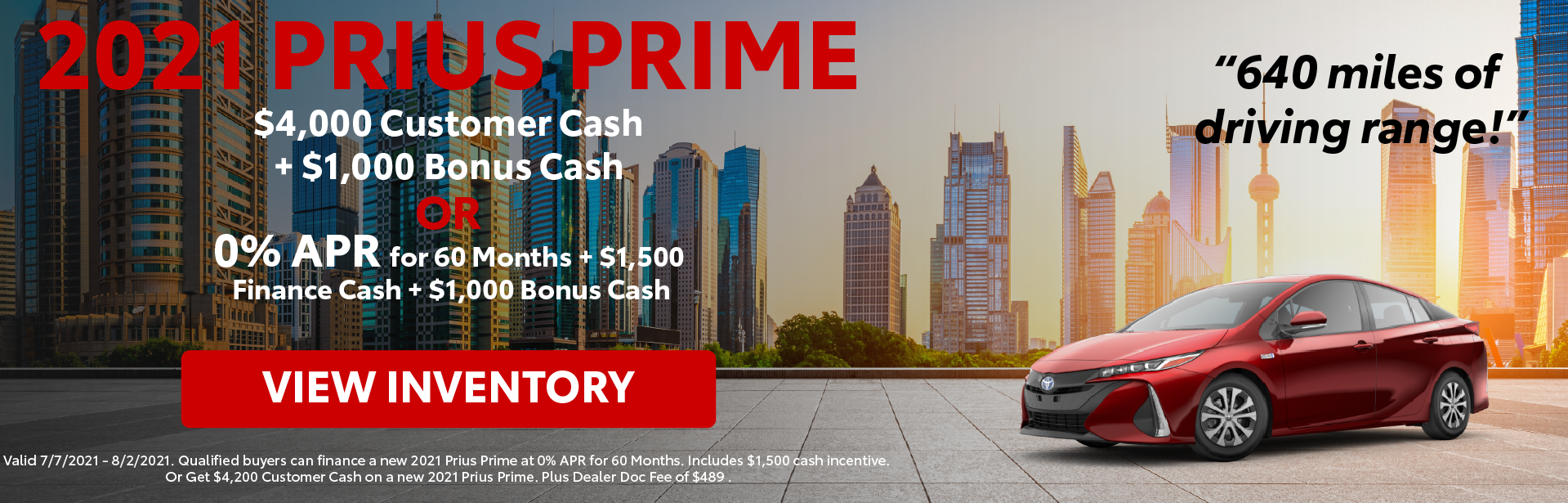 Prius Prime Customer Cash