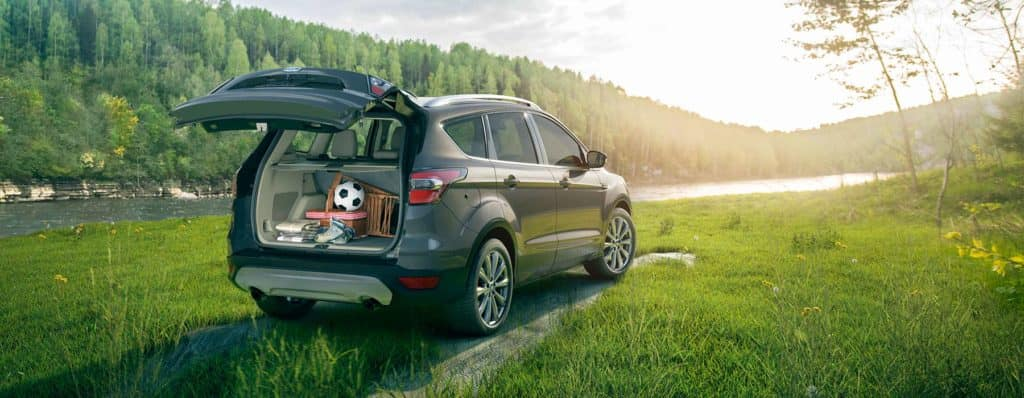 2018 Ford Escape with trunk open in wooded field