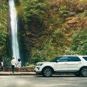 2018 Ford Explorer by the waterfall