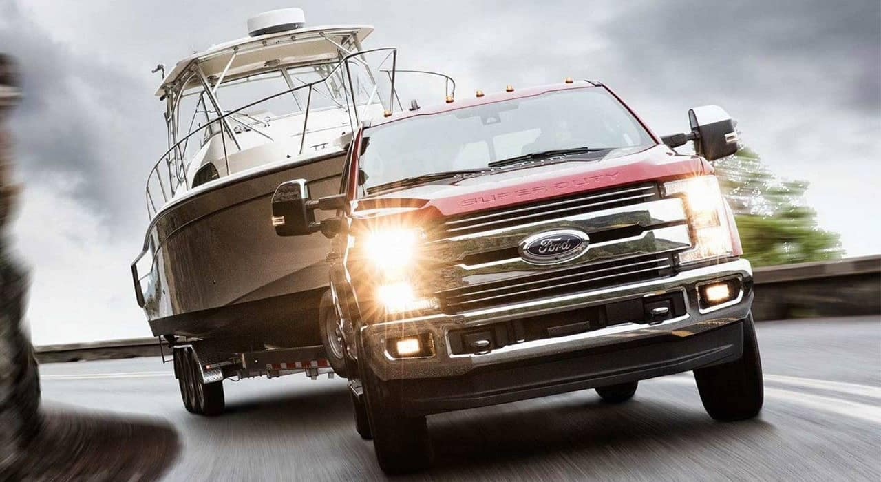 2019 Ford Super Duty tows a boat