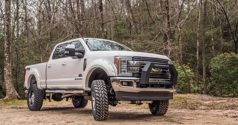 White Ford Super Duty Lifted Altitude Rocky Ridge Package