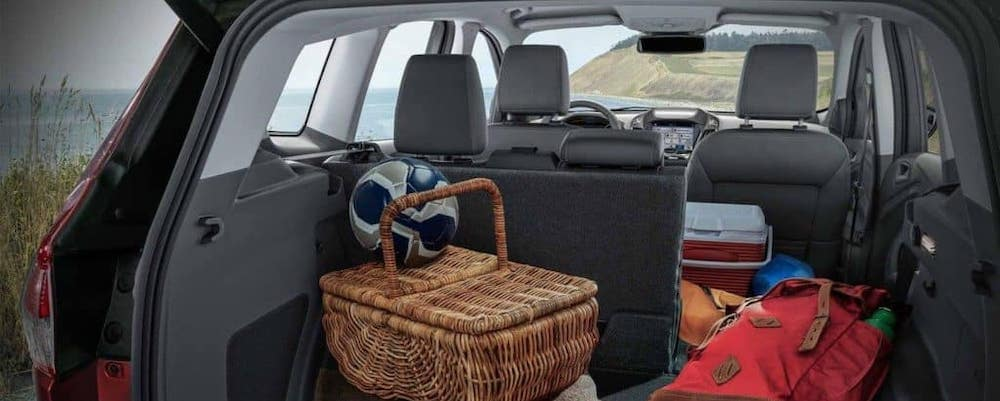 2019 Ford Escape interior trunk space filled with soccer ball and picnic basket