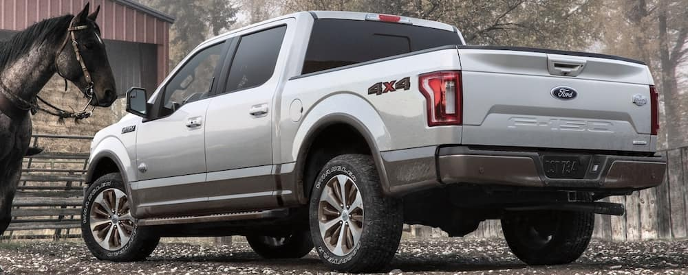 Silver 2020 Ford F-150 King Ranch at ranch with horse